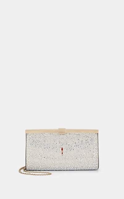 Christian Louboutin Women's Palmette Strass Clutch - Silver