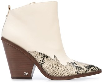 Sam Edelman Pointed Snakeskin-Effect Boots