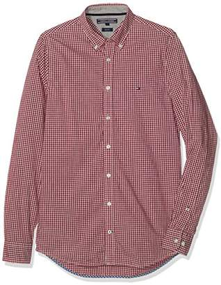 Tommy Hilfiger Men's Mini Htr Gingham SF2 Casual Long Sleeve Shirt,Large