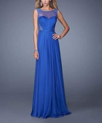 La Femme Fashion Women's Special Occasion Dresses Royal - Royal Blue Rhinestone Illusion-Mesh Gown - Women