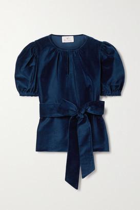 ARoss Girl x Soler Ines Belted Cotton-velvet Blouse - Navy