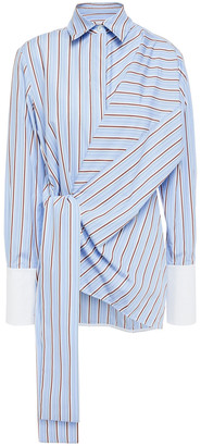 Victoria Victoria Beckham Tie-front Striped Cotton-poplin Shirt