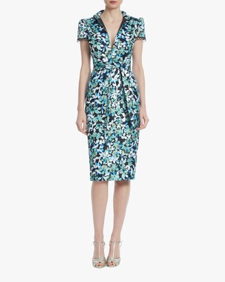 Badgley Mischka Floral Cap-Sleeve Cocktail Dress