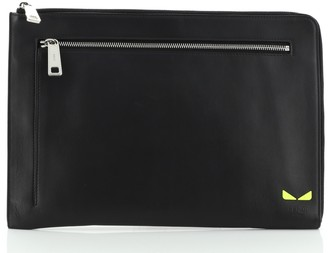 Fendi Monster Zip Pouch Leather Large