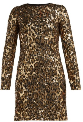 Dolce & Gabbana Leopard-print Sequinned Mini Dress - Womens - Leopard