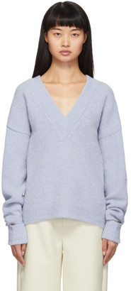 Tibi Blue Airy Alpaca V-Neck Sweater