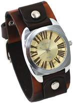 Nemesis #BCK098G Men's Wide Checker Brown Leather Cuff Band Champagne Dial Watch