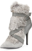 Charles Jourdan Knife Rabbit-Fur Bootie, Gray