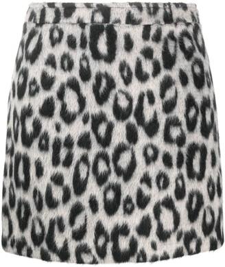 Andamane Leopard-Print Felt Mini Skirt