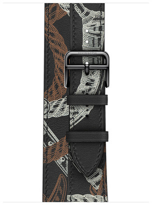 Apple Watch Herms - 40mm Noir Swift Leather Allover Print Double Tour