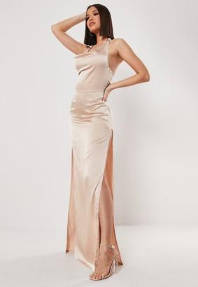Missguided Tall Stone Cowl Halterneck Maxi Dress