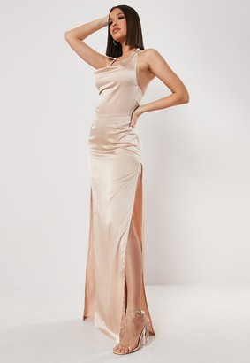 Missguided Tall Stone Cowl Halterneck Maxi Dress