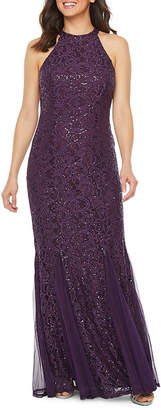 BLU SAG HairE Blu Sage Sleeveless Sequin Lace Evening Gown