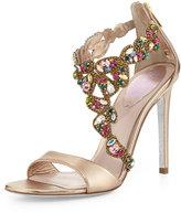 Rene Caovilla Crystal-Covered Asymmetric Sandal, Beige