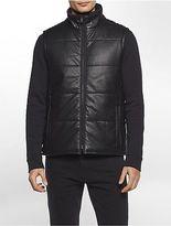 Calvin Klein Mens Faux Leather Puffer Vest Jacket