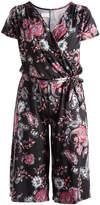 Glam Black & Pink Floral Tie-Waist Surplice Jumpsuit - Plus
