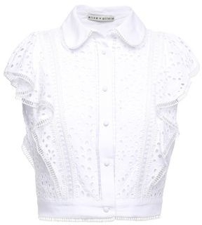 Alice + Olivia Cavan Cropped Ruffled Broderie Anglaise Modal Top