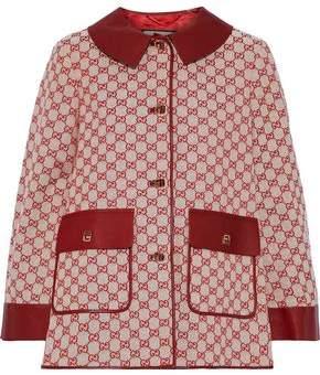Gucci Leather-trimmed Cotton-blend Jacquard Jacket