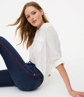 LOFT Modern Side Stripe Skinny Jeans in Staple Dark Indigo Wash