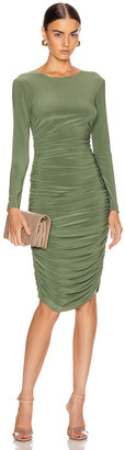 Norma Kamali Long Sleeve Shirred Dress in Celadon | FWRD