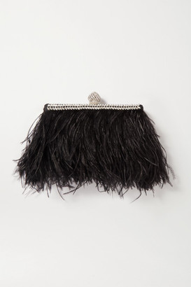 Jimmy Choo Celeste Feather And Crystal-embellished Satin Clutch - Black