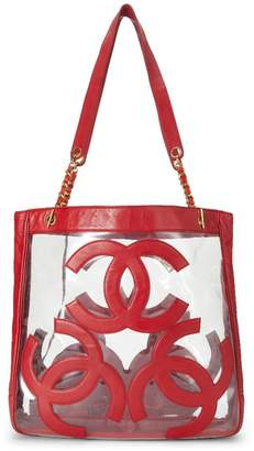 Chanel Red Vinyl 3 'CC' Tote Bag Medium