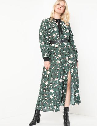 ELOQUII Printed Maxi Dress With Slit