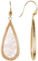 Rivka Friedman 18K Gold Clad Rose Quartz Slice Teardrop Earrings