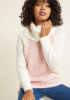 Mcs1104 Life on the road may not have the comforts of home, but it can easily include the comforts of this thick knit sweater! Part of our ModCloth namesake label, this rose pullover is warmed up with an ivory cowl neckline and matching raglan sleeves. Cozy as ca