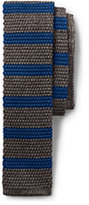 Lands' End Men's Long Silk Melange Stripe Knit Necktie-Tan Melange Stripe