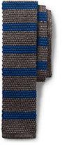 Lands' End Men's Silk Melange Stripe Knit Necktie-Rich Papaya Circle Neat