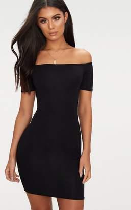 PrettyLittleThing Basic Black Short Sleeve Bardot Bodycon Dress