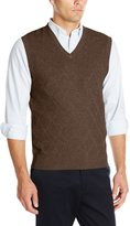 Haggar Men's Heather Diamond Texture Stitch V-Neck Vest