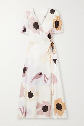 Peony Swimwear Soiree Floral-print Woven Wrap Dress - Off-white