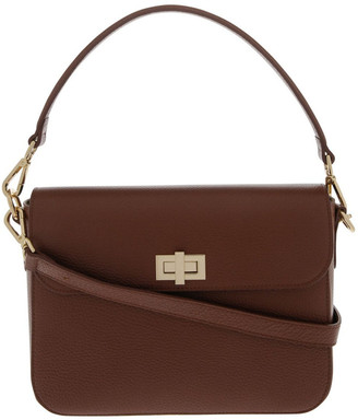 Innovare Made in Italy Valentina Flap Over Tan Crossbody Bag