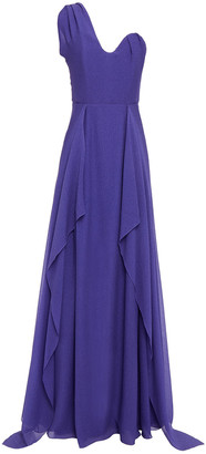 Roland Mouret Kimberworth One-shoulder Draped Silk-crepe Gown