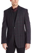 Perry Ellis Men's Slim Fit Sport Coat, Charcoal/Burgundy
