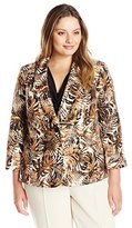 Kasper Women's Plus Size 2 Button Shantung Jacket