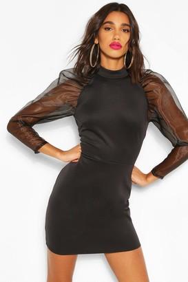 boohoo High Neck Puff Sheer Sleeve Mini Dress
