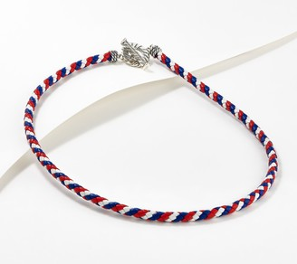 American West Sterling Silver Braided Leather Patriotic Toggle Necklace