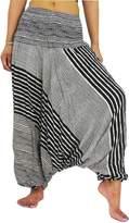 NaLuck Women's Boho Hippie Hobo Unisex baggy Jumpsuit Smocked Waist Yoga Harem Pants PH14