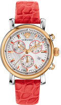 Versace Day Glam Chronograph Watch w/ Leather Strap, Rose Golden/Coral