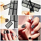 Binmer(TM) New Vinyls Nail Hollow Irregular Grid Stencil Reusable Manicure Stickers Guide Stamping Template Nail Art Tools (H)