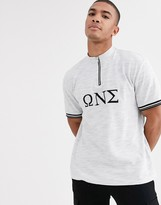 Asos Design DESIGN organic cotton relaxed zip neck turtle with sorority embroidery in waffle jersey