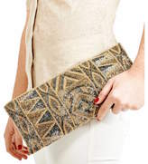 Aspiga Large Beaded Gold Clutch Bag