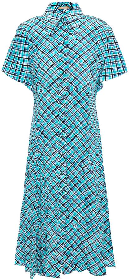 Michael Kors Collection Checked Silk-crepe Shirt Dress