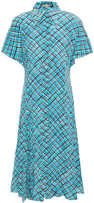 Michael Kors Collection Checked Silk-crepe Shirt Dress