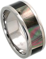 Sabrina Silver Titanium 8mm Wedding Band Ring Mother of Pearl Inlay Flat Comfort Fit, size 9