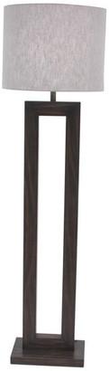 Brimfield & May Farmhouse Rectangular Iron and Pine Wood Floor Lamp, Dark Brown