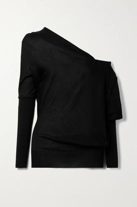 Tom Ford One-shoulder Cashmere And Silk-blend Sweater - Black